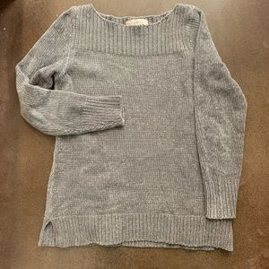 Loft boat neck grey chenille sweater